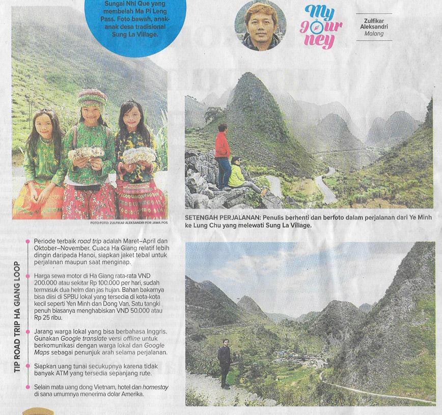 Ha Giang, Tulisan Baru di Kolom Traveling Harian Jawa Pos